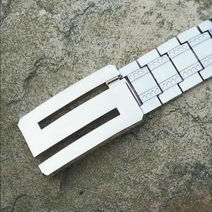 Image 2 - Mens Metal Stainless steel Belt Punk style X buckle self defense waistband Dragon Letter Personalized special outdoor belt
