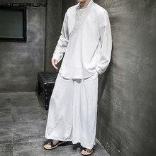 Retro Mens Tang-Suit INCERUN Chinese-Style Shirt Leg-Pants Men-Sets Solid-Streetwear
