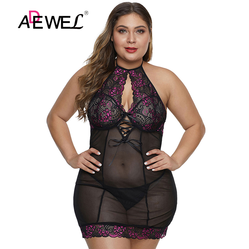 ADEWEL Sexy Black Purple Plus Size Lingerie With Floral Lace Bodysuit Combinaison Pantalon Femme Body Mujer Push Up Bodysuits 5X