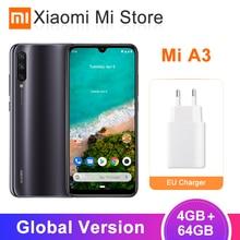 Глобальная версия Xiaomi mi, мобильный телефон A3 mi A3, 4 ГБ, 64 ГБ, Восьмиядерный процессор Snapdragon 665, 6,088 дюймов, 48MP+ 32MP, камера AI, 4030 мА/ч