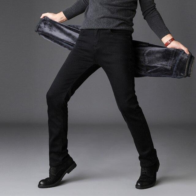 2019 Men Fashion Winter Jeans Men Black Slim Fit Stretch Thick Velvet Pants Warm Jeans Casual Fleece Trousers Male Plus Size 3