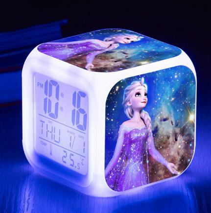 Disney Movie Frozen Princess Elsa Anna Digital Alarm Clock Color Changing LED Reloj Despertado Clock Kids Cartoon Toys For Child
