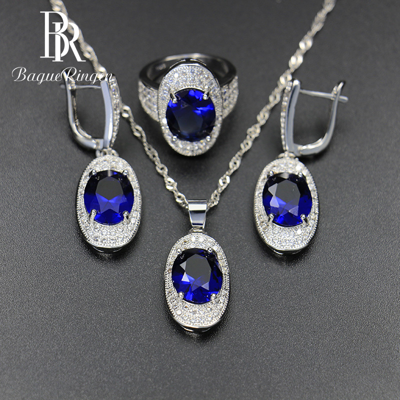 Bague Ringen Silver 925 Gemstones Jewelry Sets for Women Ring Earrings Necklace Sapphire Ruby Amethyst Female Wedding Wholesale