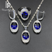 Bague Ringen Silver 925 Gemstones Jewelry Sets for Women Ring Earrings Necklace Sapphire Ruby Amethyst Female Wedding Wholesale(China)