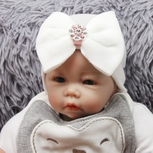 Cute Newborn Baby Girl Boys Striped Bowknot Hospital Hat Beanie Hat