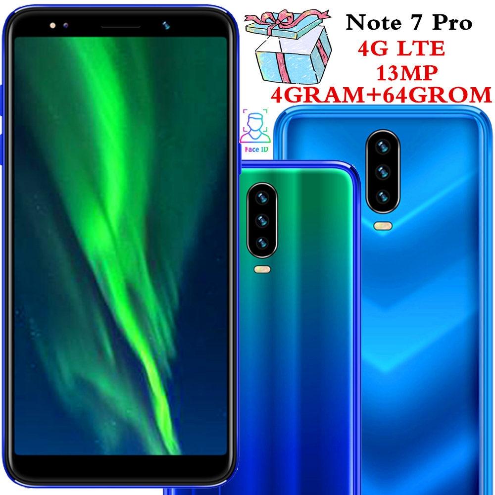 Note 7 Pro Smartphones 4G LTE Celulares 4GB RAM 64GB ROM Quad Core 13MP Camera 18:9 IPS Android Mobile Phones Face ID Unlocked