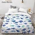 Пододеяльник с 3D принтом рыбы  одеяло  чехол Queen/King  мультяшное постельное белье для детей/малышей/детей  Прямая поставка