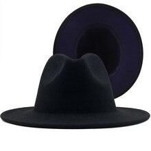 Gorący zewnętrzny czarny wewnętrzny granatowy niebieski wełna filc Jazz kapelusze Fedora z cienki pasek klamra mężczyźni kobiety szerokie rondo Panama kapelusz filcowy 56-58CM