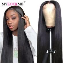 13x4 frente de encaje pelucas de cabello humano 10-30 pulgada cabello liso brasileño pelucas de encaje de pelo para las mujeres 360 Frontal de encaje pelucas Remy MYLOCKME