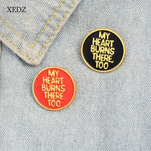 XEDZ Red / Black Round Phnom Penh Text Badge MY HEART BURNS THERE TOO Enamel Brooch Men's and Women's Denim Clothes Pendant Jewe red coat brooch pill drug capsule pattern red movie ticket enamel pin backpack clothing denim badge cool hand hug heart brooch