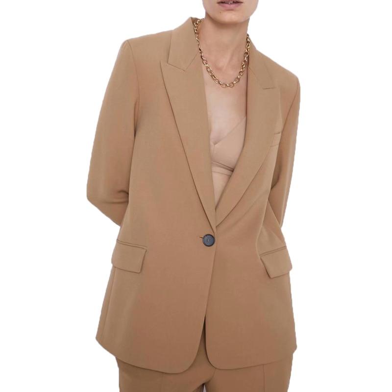Autumn 2019 Casual Blazer Women Long Sleeve Coat Women A Buckle Blazer Feminino Khaki Womens Clothing