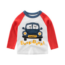 T-Shirts Long-Sleeve Car Machine  Autumn Baby Striped Boys Kids Cotton Cartoon Children Print Tops Toddler O Neck Tee T Shirts t shirts kids clothing tops boys girls toddler long sleeve baby cartoon children cotton summer print car machine tees