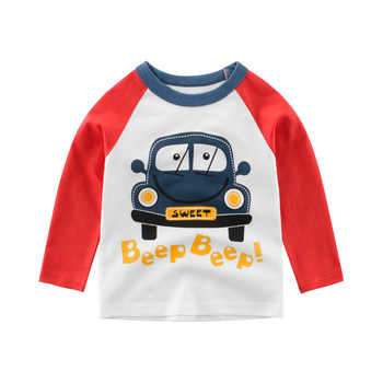 T-Shirts Long-Sleeve Car Machine  Autumn Baby Striped Boys Kids Cotton Cartoon Children Print Tops Toddler O Neck Tee T Shirts cutout neck bell sleeve striped tee