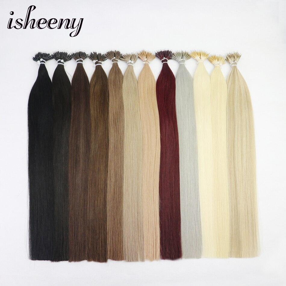 "Isheeny 14""-22"" Inch Micro Ring Remy Human Hair Extensions Straight Black European Nano Ring Hair Extension Pre Bonding 100pcs"