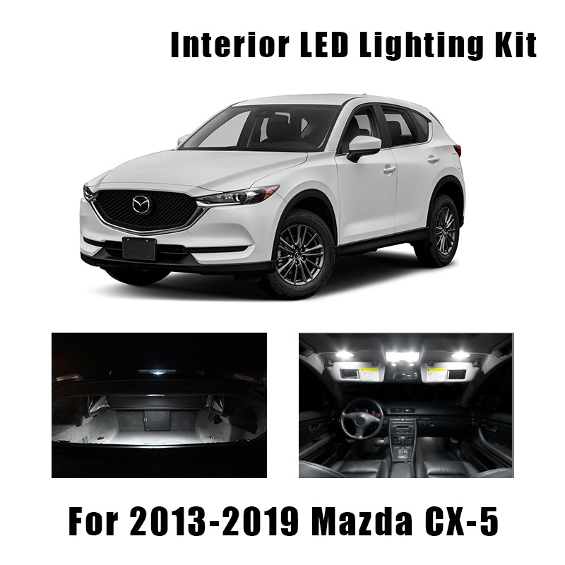 10 Bulbs White LED Car Map Dome Light Interior Kit Fit For <font><b>Mazda</b></font> CX-5 2013-2017 2018 2019 <font><b>CX5</b></font> Trunk Ceiling License Plate Lamp image