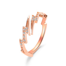 Hot Selling Jewelry Creative Irregular Geometry Zircon Lightning Ring Cross-border Supply of Wholesale
