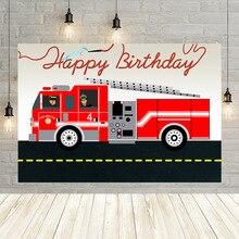 Avezano Brandweerwagen Gelukkige Verjaardag Fotografie Achtergrond Brand Brandweer Jongen Baby Shower Portret Achtergrond Photo Studio Decor Banner