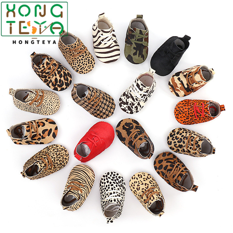 Hongteya Genuine Leather Baby Shoes Leopard Print Baby Girls Soft Shoes Horse Hair Boys First Walkers Lace Baby Moccasins