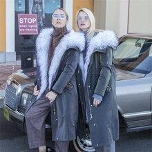 Очень длинное пальто с мехом енота, модное зимнее теплое пальто для женщин