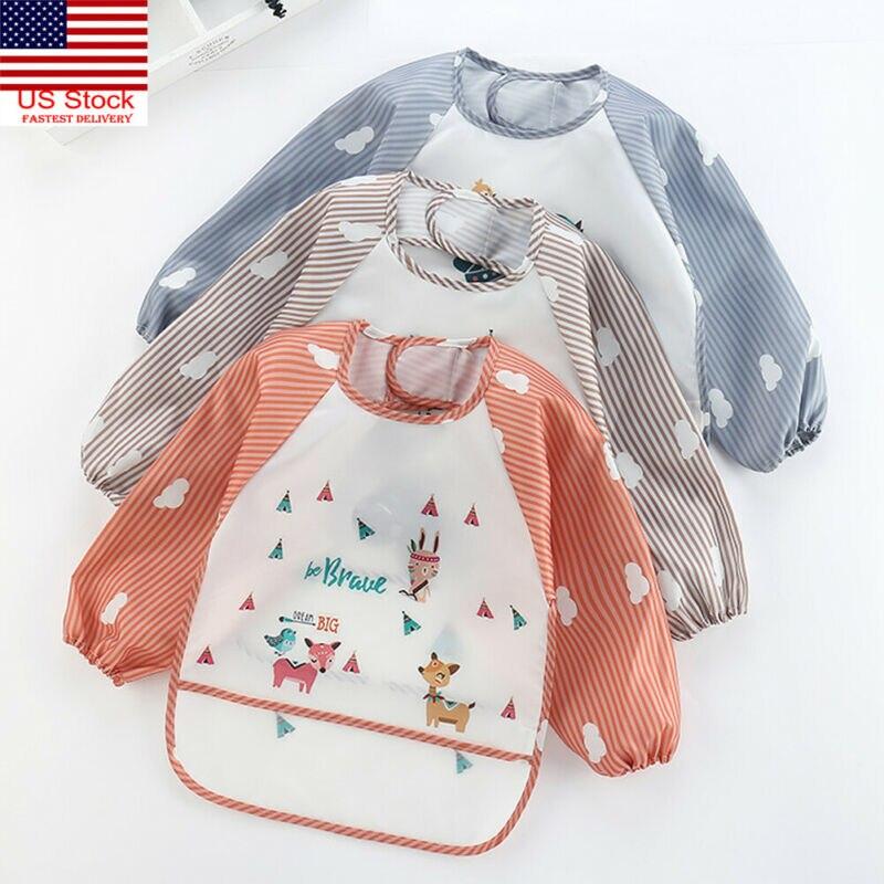Baby Child Feeding Bibs Apron Waterproof  Baby Bibs  Burp Cloths Cloths Long Sleeves With Food Catcher