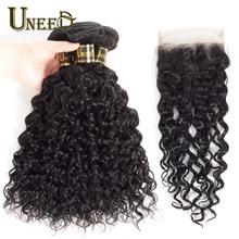 Mèches péruviennes Remy ondulées – Uneed Hair, 100% cheveux naturels, tissage de cheveux, avec Lace Closure, pour femmes