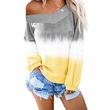 OEAK 2019 Sweatshirt Women Autumn V-Neck Pullover Top Sweatshirts Streetwear Gradient Color Long Sleeve