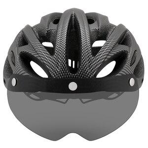 Image 5 - Casco de bicicleta de montaña moldeado integralmente con gafas extraíbles, ajustable, para ciclismo, unisex
