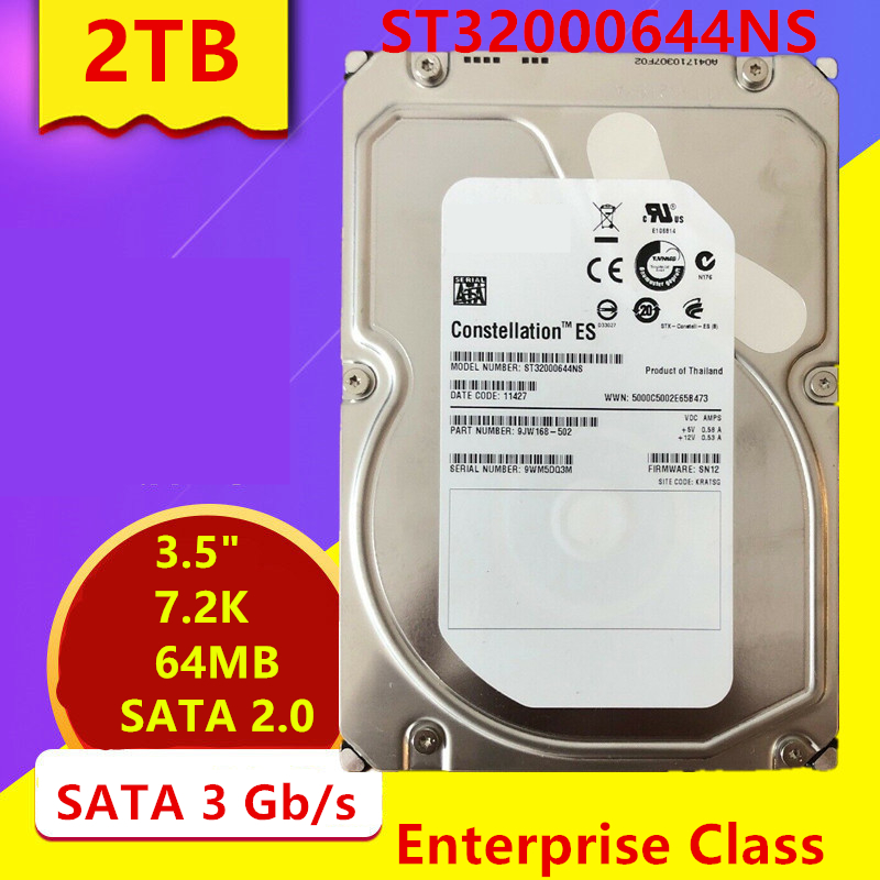 """New HDD For Seagate/Dell Brand 2TB 3.5"""" SATA 3 Gb/s 64MB 7200RPM For Internal HDD For Enterprise Class HDD For ST32000644NS 1"""