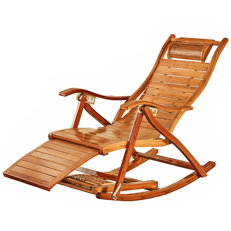 Summer Adult Rocking Chair Balcony Leisure Chair Folding Lunch Siesta Bamboo Chair Leisure Bamboo Rocking Chair for The Elderly