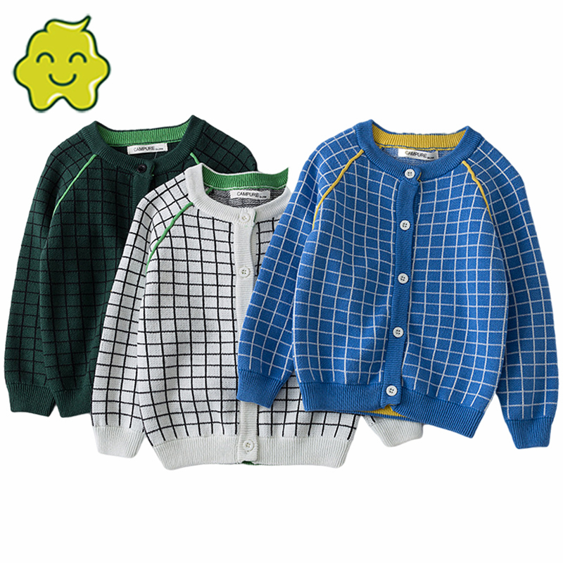 Single Breasted Child Sweater Plaid Casual O-Neck Baby Knit Jumper Cotton Kids Cardigan Children'S Clothing Baby Knit Jacket New