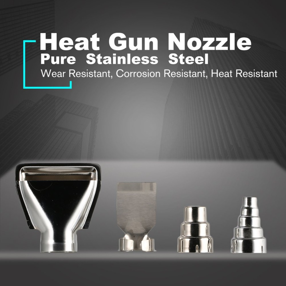 4x Heat Hot Air Gun Nozzles Kit Shrink Paint Stripper Rework DIY Tool Universal Triangle Round Nozzle Mouth