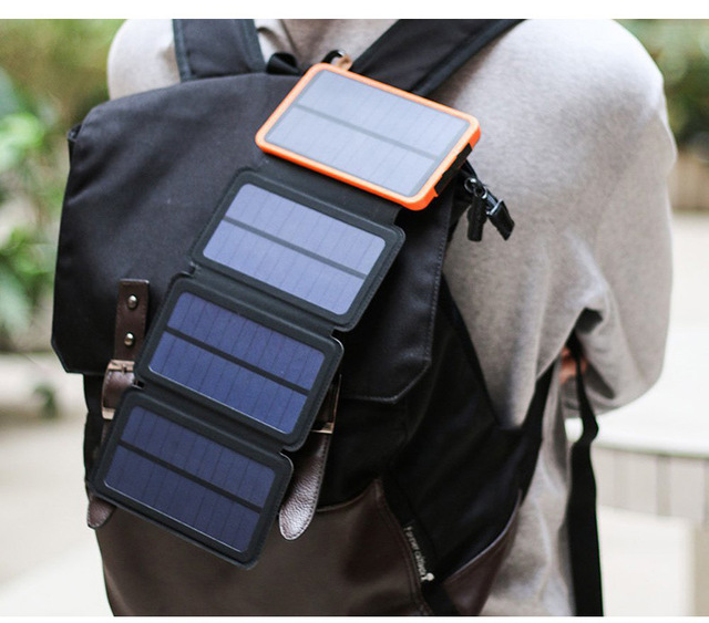 Solar power bank Folding Solar panel charger outdoor solar panel camping hiking solar charger battery 1