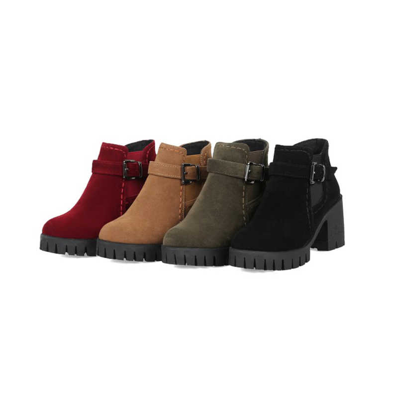 2019 kış yeni kalın yarım çizmeler bayan botları kış kadın kırmızı yüksek topuklu moda yarım çizmeler 34-43