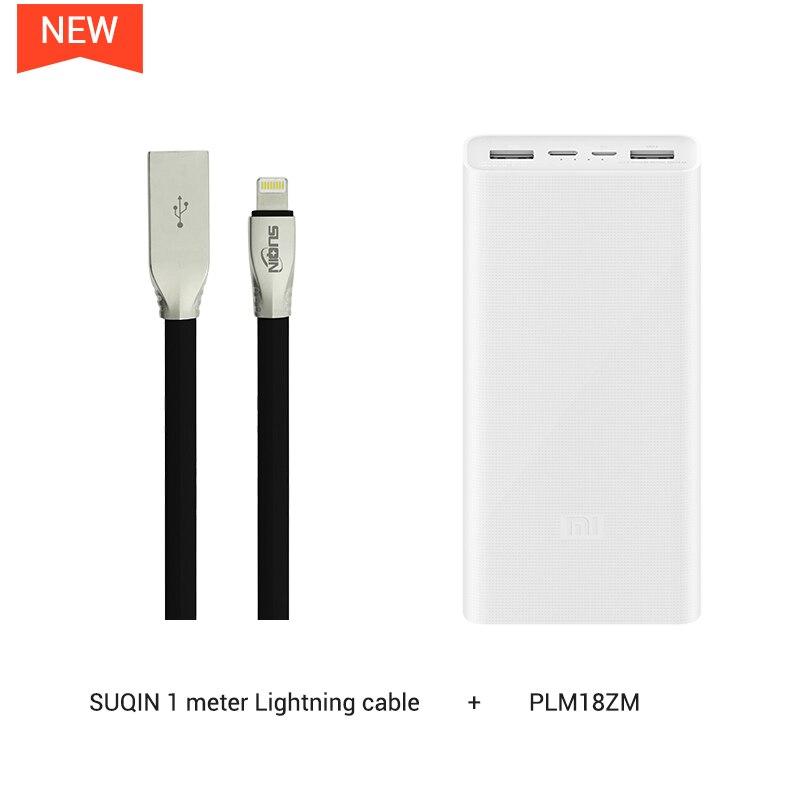 Xiaomi power Bank 3 PLM18ZM 20000 мАч 18 Вт Двусторонняя Быстрая зарядка тип-c микро Входное зарядное устройство для iPhone 11 Pro XR X для samsung - Цвет: w Lightning Cable