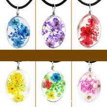 Handmade Transparent Glass Ellipse Pendant Necklace Dried Flower Permanent Preservation Women Jewelry Fashion Wax Rope