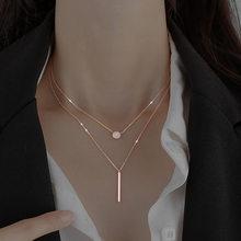 925 argent sterling carré Flash diamant rond Double collier femmes clavicule chaîne Fine bijoux fête accessoires de mariage