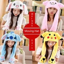 Модная шапка с ушками кролика, плюшевая Милая шапочка с подушкой безопасности, можно выбрать из 18 цветов из полиэстера