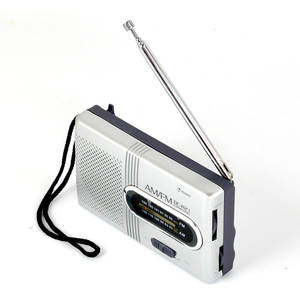 Mini Portable AMFM Radio Telescopic Antenna Radio Pocket World Receiver Speaker Portable Radio Outdoor Silver Color