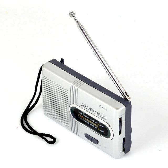 Mini Portable AM/FM Radio Telescopic Antenna Radio Pocket World Receiver Speaker Portable Radio Outdoor Silver Color