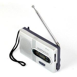 Image 1 - Mini Tragbare AM/FM Radio Teleskop Antenne Radio Tasche Welt Empfänger Lautsprecher Tragbare Radio Outdoor Silber Farbe
