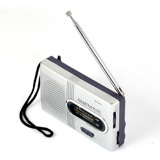 Mini Tragbare AM/FM Radio Teleskop Antenne Radio Tasche Welt Empfänger Lautsprecher Tragbare Radio Outdoor Silber Farbe