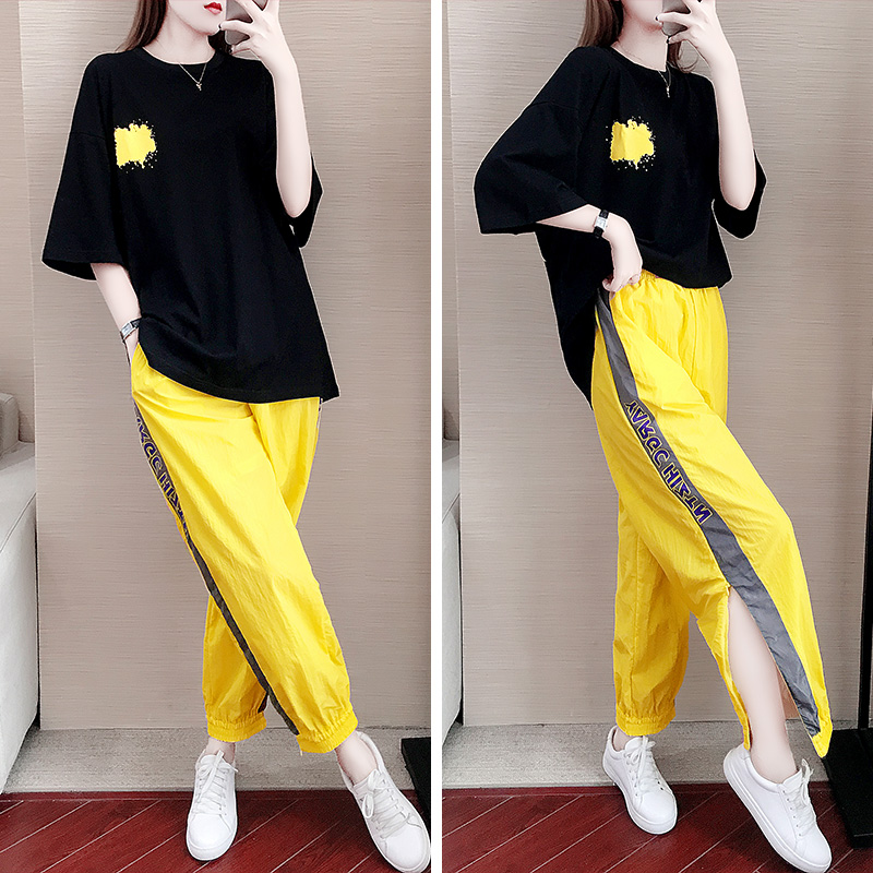 Two Piece Tracksuit For Women Yellow Outfit  Casual Suit Female Summer 2020 New Short Sleeve Loose Pants Two Sets Of Summer Run