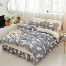 Comfortable cotton twill environmental protection printed cotton single layer bed cover quilt cover four-piece set