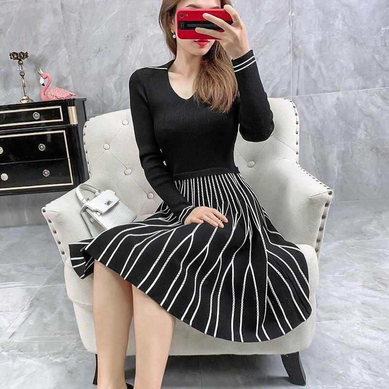 2019 automne hiver mode pull robe de haute qualité femmes col rabattu motifs rayés à manches longues tricoté robe pull