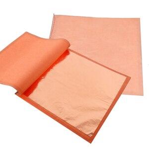 Image 3 - 400 livrets Imitation feuille dor feuilles 25 pièces/livret 14X14cm et 16x16cm feuille de cuivre rouge #0 pour Art artisanat papier décoration de la maison