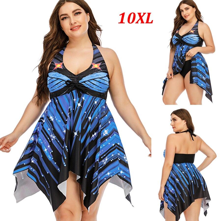 Супер большой Размеры 10XL Для женщин, с рисунком, пуш-ап, Tankini купальник из двух частей в полоску размера плюс Размеры купальники 2021 Новый Винт...