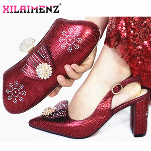 Image 5 - Onion Color Woman High Heels Sandals And Matching Bag Set For Party 2019 Hot Sale Italian Woman Shoes And Bag To Match Set
