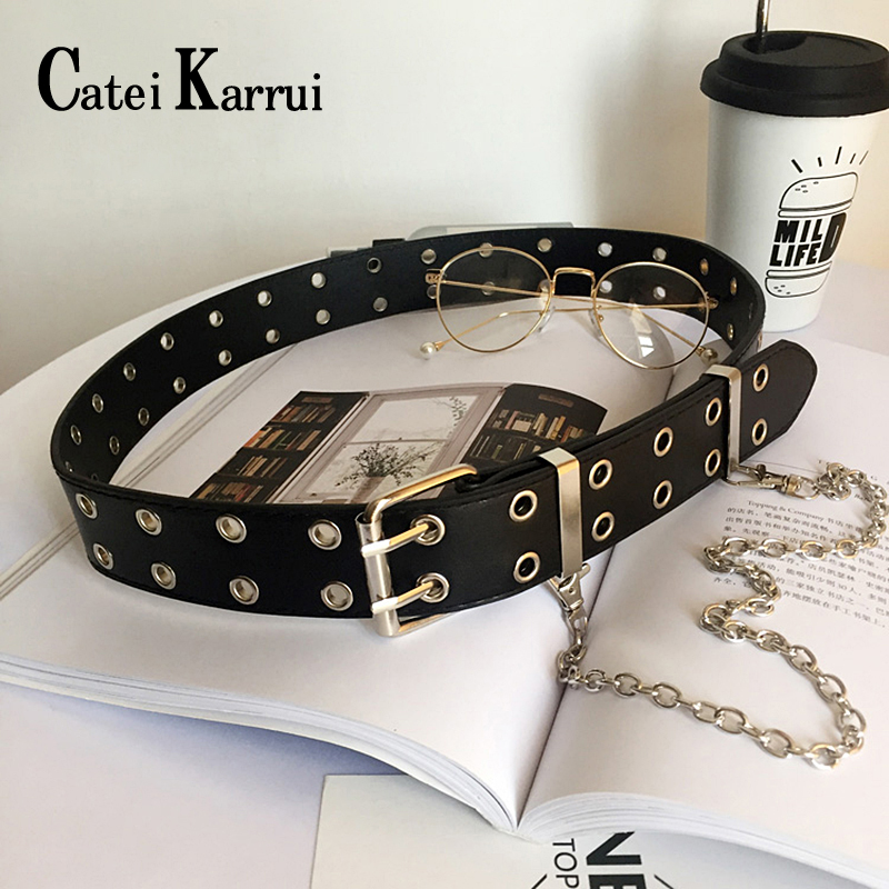 Catei Karrui Double Grommet Belt For Women Genuine Leather Double Prong Buckle Vintage Punk Rock Jeans Belts