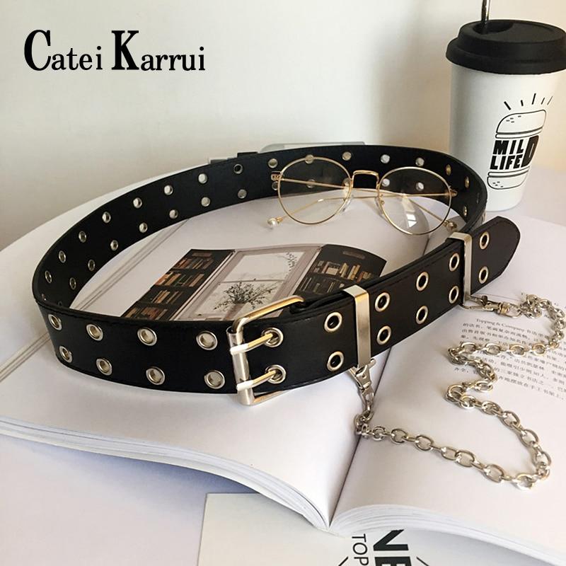 Catei Karrui Double Grommet Belt For Women Genuine Leather Double Prong Buckle Vintage Punk Rock Jeans Belts