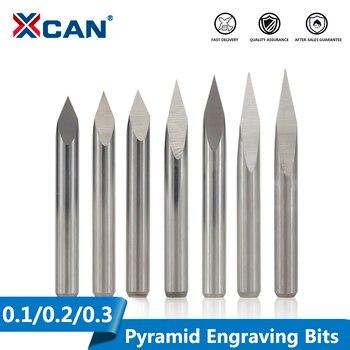 XCAN 10 Uds 20/30/40/45/60/90 grados punta 0,1-0,3mm 3 borde brocas piramidales de grabado 3.175mm vástago CNC cortador de fresado 3D